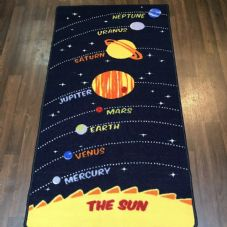 SPACE MATS HOME SCHOOLS 80X150CM PLANETS BLUE/YELLOW NON SLIP WASHABLE RUGS